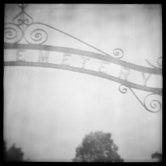 Cemetery (daveknapik) Tags: blackandwhite 120 film cemetery mediumformat death gate gates border maine diana dianaf ilforddelta400 fayette cemeterygates kentcemetery