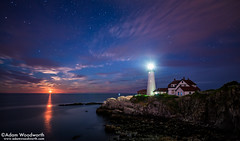 Moonrise at Portland Head Lighthouse (Adam Woodworth) Tags: moon lighthouse night clouds stars maine newengland moonrise atlanticocean seacoast portlandheadlight mainecoast capeelizabeth