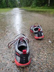A few miles in my shoes! (petrusko.rm) Tags: red summer green water grass rain weather training shoe woods forrest sweden bare feel great gray running olympus run m trail barefoot sneaker access workout tough geotag gravel merrell ihs 2012 vibram merrel tg1