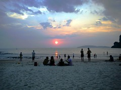 Railay Beach Sunset, Krabi, Thailand (LarrynJill) Tags: travel sunset sea vacation sky people sun beach clouds thailand sand asia krabi raileybeach