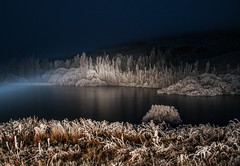 Frozen Lake in Darkest Night (Ian@NZFlickr) Tags: lake night frozen bravo frost dam alexandra nz otago predawn butchers hoar gully