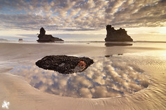 Seastar Sunset (Joshua Cripps) Tags: sunset newzealand reflection southisland tasmansea seastack goldenlight motukiekiebeach 12legstarfishmackerelsky