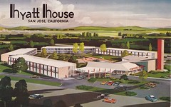 Architectural Rendering - Hyatt House - San Jose (hmdavid) Tags: california northerncalifornia architecture modern illustration vintage hotel postcard sanjose motel architectural bayarea 1960s roadside rendering 1961 midcentury hyatthouse