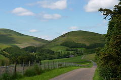 Linhope In The Cheviots (Louise and Colin) Tags: road uk trees england green english field rural fence woodland countryside sheep britain forestry farm farming eu farmland hills northumberland pasture british summertime lovely agriculture ingramvalley northumberlandnationalpark linhope thecheviothills roundedhills happyfencefriday thebreamishvalley