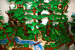 Faerie Forest (Aerial) (Siercon and Coral) Tags: trees castle coral forest lego magic fantasy redwood archery guild mystic faerie elves moc lothlorien avalonia forestmen siercon