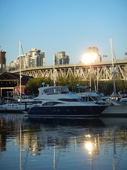 Reflections on the Water (David J. Greer) Tags: bridge sunset sea reflection building water vancouver creek reflections boats island evening boat bc dusk granville false