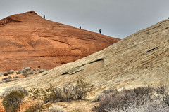 Rock Group (magnetic_red) Tags: rocks rock mountain red hikers three group sandstone desert valleyoffire nevada angles perspective