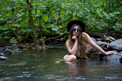 Long On Summer (Sugar Hollow)-7 (rich tarbell) Tags: black one piece lace see through thru bikini boobs large big long hair outdoor bathing suit photoshoot river stream nature hat sexy mountains model