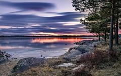 Fire Reflections (Peter Vestin) Tags: nikondf sigma24mmf14dghsmart siruin3204x siruik30x adobecreativecloudphotography topazlabscompletecollection skutberget karlstad vrmland sweden vnern nature landscape seascape sunset winter ice