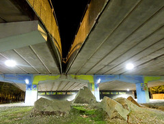 Holding up the Traffic: Street art / graffiti, Coventry (roger.w800) Tags: coventry westmidlands warwickshire flyover road night nightshot streetart graffiti