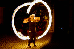 ring of fire (CB-Photos) Tags: frau portrait fire game play dark hot spin smile lcheln blach a77m2 feuer fast face hands extrem stil moment half medusa makeup ringoffire lightmyfire