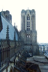 Up on the Cathedral's roof, Reims (toucanne) Tags: reims france 51 marne champagneardenne cathedral cathédrale toit roof eagle aigle sculpture fleurdelys stone pierre tower tour view vue gargoyle gargouille
