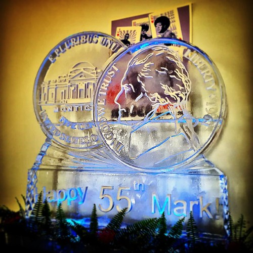 Happy #birthday Mark! Double nickel #icesculpture commemorating this milestone #party @antonesnightclub #fullspectrumice #austin #thinkoutsidetheblocks #brrriliant - Full Spectrum Ice Sculpture