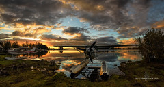 Float planes and sunsets (Traylor Photography) Tags: alaska tedstevensinternationalairport west sunset lakehood panoarama floatplane reflection anchor internationalroad mirror anchorage