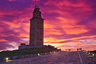 Tower of Hercules at sunset