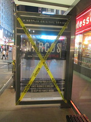 Narcos Bus Shelter Pile O Money AD - UPDATE They stole the fake money 5523 (Brechtbug) Tags: narcos bus shelter pile o money ad tv show stop with piles slightly singed real fake or is it 2016 nyc image taken 09172016 midtown manhattan new york city 49th street 7th ave st avenue moola bogus update they stole