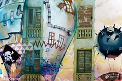 Cuatro balcones tapiados - Four balconies covered (Eva Ceprin) Tags: balcones balconies artecallejero streetart fachada facade edificio building arquitectura architecture barcelona lacarbonera movimientookupa squatting nikond3100 tamron18270mmf3563diiivcpzd colores colors evaceprin