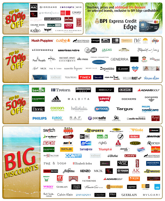 Participating brands in the BIG Summer Outlet Sale 2012