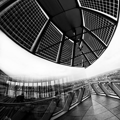 Transparent Reflections (Take a View Landscape POTY 2012 Shortlisted) (martinturner) Tags: city bridge blackandwhite bw house london tower glass thames reflections river mirror solar hall open view angle geometry top balcony authority curves wide headquarters norman southbank fisheye more foster take greater panels transparent curve 8mm southwark gla 2012 assembly samyang poty martinturner takeaview lpoty