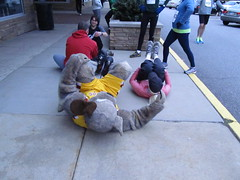 Stretching out (Moondog Mascot) Tags: 100k moondog cavaliers beechbrook 04222012 fleetfeetsports5k