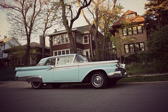 Dad's Ford (Explored 4/24/12) (Flint Foto Factory) Tags: street city blue urban white house chicago reflection tree brick ford beautiful sedan vintage reflecting evening early illinois spring funny long dad time dusk parking son neighborhood story chrome memory april faux wilson americana ago parked mansion pm passage stories residential sunnyside kerb curb dover galaxie 1959 2012 ravenswood lined twotone 2door tutone 4629 slowride worldcars