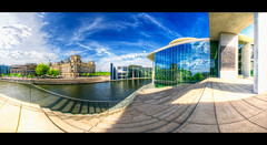 Germany governmental district (Marcus Klepper - Berliner1017) Tags: blue panorama berlin clouds river germany wasser capital hauptstadt himmel wolken reichstag blau spree hdr haeven