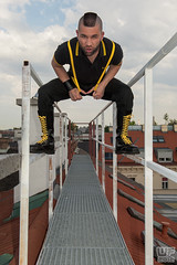Dacco 05 (WF portraits) Tags: city portrait black male rooftop yellow fetish model boots mohawk suspenders bih irocese