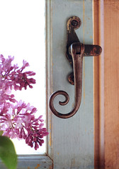 window latch (anniedaisybaby) Tags: wood old stilllife window bronze spiral antique recycling lilacs patience latch pottingshed shabbychic gardencottage yardsalefind salvagedmaterials textureflypaper