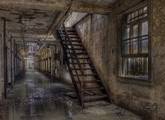 Wet Hallway 3 (scottnj) Tags: abandoned window stairs dark explore prison jail decayed damp easternstatepenitentiary musty explored scottnj scottodonnellphotography creativephotocafe