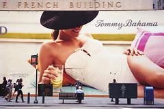 a new york slice / Olympus XA2 (ho_hokus) Tags: nyc newyorkcity newyork scale poster unitedstates manhattan streetphotography 5thavenue olympus xa2 billboard 35mmfilm advert olympusxa2 2012 tommybahama kodakgold200 fredffrenchbuilding filmphotographypodcast