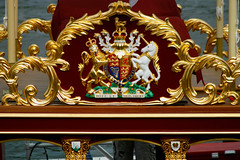 Gloriana - Royal Coat of Arms (Mikepaws) Tags: city uk greatbritain england london chelsea weekend jubilee flag capital royal cleaning celebrations rowing pageant barge preparation 2012 gloriana diamondjubilee imperialwharf rowbarge