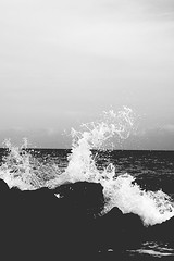 mar_3367 (Broseta) Tags: sunset sea blackandwhite blancoynegro beach rock atardecer mediterranean wave roca mediterrneo mediterrani aiga