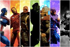 Universal Avengers (JD Hancock) Tags: collage comics fun toy actionfigure action bokeh ironman cc hero figure superhero hawkeye blackwidow hulk char thor multicolored captainamerica marvelcomics avengers nickfury jdhancock