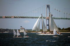Sail vessels near Newport, RI (nelights) Tags: usa sailboat sailing rhodeisland newport sail tallship schooner roseisland narragansettbay adirondackii roseislandlighthouse roseislandlight