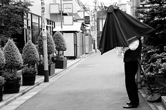 The Umbrella Man. (Dave from Tokyo) Tags: people blackandwhite bw monochrome japan umbrella tokyo blackwhite pessoas gente noiretblanc bn menschen personas persone   japo umbrellas japon personnes giappone biancoenero omotesando ombrello  tokio  japn      negroyblanco   ombrellone ombrelli     davidefilippini nikond5000 sigma1770f2845dcmacrohsm