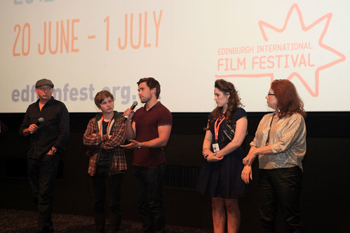 Diane Henderson with Melanie Hill, Madeleine Clark, Harry McEntire and Christian Cooke following the screening of Unconditional at the Cineworld
