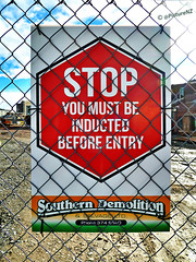 It Sounds Very Painful (Steve Taylor (Photography)) Tags: city newzealand christchurch building site earthquake demolition canterbury safety stop nz quake southisland cbd salvage entry induction procedure inducted youmustbeinductedbeforeentry southerndemolition