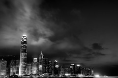 HK Nights (DPGold Photos) Tags: china city longexposure travel blackandwhite bw hk building skyline night river hongkong boat asia southeastasia cityscape central hong kong kowloon dpgoldphotos