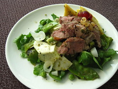 farmers market dinner (mamichan) Tags: tomato dressing takeout lamb onion eats parsley pea cilantro gooseberry polenta greenonion csa localeats arugula currant kohlrabi fultonfarmersmarket