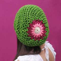 Spring Blossom Slouchy Hat (Gleeful Things) Tags: pink summer white green floral hat diy spring pattern handmade crochet hippy trendy etsy crocheted beret tam slower slouchy ravelry