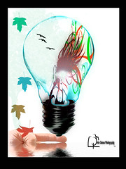 Balancing Light Bulb (Peter Solano. Pursuing a dream!) Tags: original light reflection tree fall water colors girl hair maple hand graphic finger catchycolorsleaves