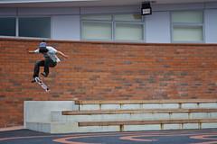177/366. (LukeMorgan) Tags: new 3 canon 50mm big stair jamie skateboarding bricks yo overcast spot flip skate skateboard skater trick sick tre swag steeze 1000d