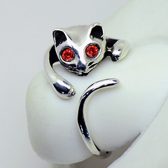 Sterling Silver Cat Ring - Orange Red (LennonLipeng) Tags: catring redring sterlingsilverring silvercatring 925silverring