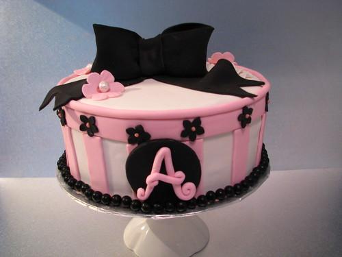 pretty in pink & black elegant birthday cake