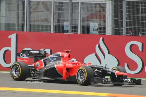 Timo Glock in his Marussia F1 car at the 2012 European Grand Prix in Valencia