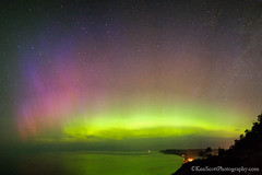 Empire Bluff ... aurora borealis all the way! (Ken Scott) Tags: panorama usa stars michigan lakemichigan greatlakes nightsky northernlights auroraborealis 2012 freshwater voted leelanau empirebluff sbdnl sleepingbeardunenationallakeshore mostbeautifulplaceinamerica