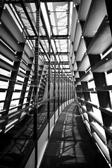 disappear in Terminal C (Joey Johannsen) Tags: windows bw glass lines metal facade lights vanishingpoint frames airport walkway curve vents hcs terminalc viennainternationalairport