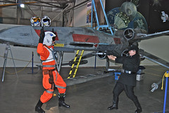 White Hats Vs. Black Hats (thegreatlandoni) Tags: museum starwars costume gun space sciencefiction gunfight denvercolorado pretend airspacemuseum xwingfighter reinactors wingsovertherockies newphotodistillery