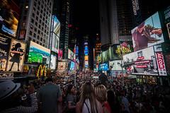 Time Square Epic Shot (kenlauky) Tags: light billboard advertisement night signage manhattan wideangle 15mm voigtlander sonya7 timessquare nyc newyork crowd