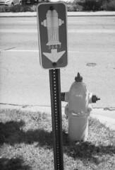hydrant (bergytone) Tags: analog film bw 110 canon 110ed ilford fp4 xtol selfdeveloped fire hydrant kalamazoo